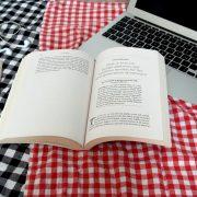 Ein aufgeschlagenes Buch auf einer Picknickdecke.